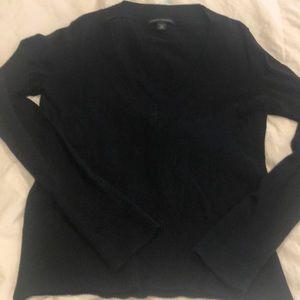 Black deep v-neck sweater